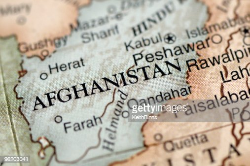 A map with a close-up focus on Afghanistan