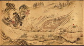 Map with a Russian camp in Eastern Siberia 16891722 Artist Chinese Master