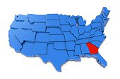 3D render of USA map with states. The map is blue and on a plain white background. 3D render of USA map with states. The map is blue and on a plain white background.