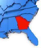 A close up 3D render of USA map with states. The map is blue and on a plain white background.