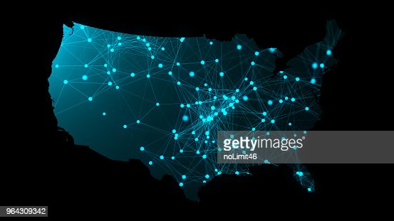 USA map with many network connections, 3d rendering computer generated backdrop : Stock Photo