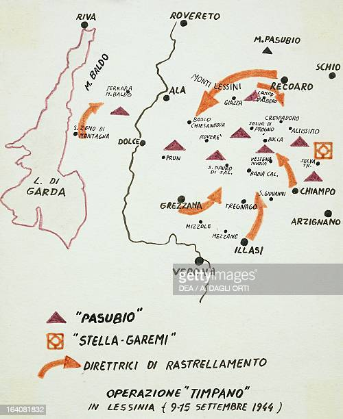 Map with planned roundup raids clearly marked out which the German army carried out against the partisans on Lessini Mountain between 9 and 15...