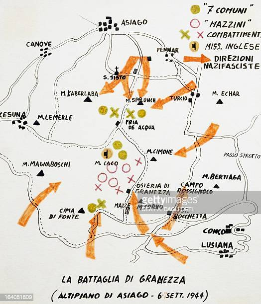 Map with planned roundup raids clearly marked out which the Nazis carried out against the partisans on the Plateau of the Seven Towns September 6...