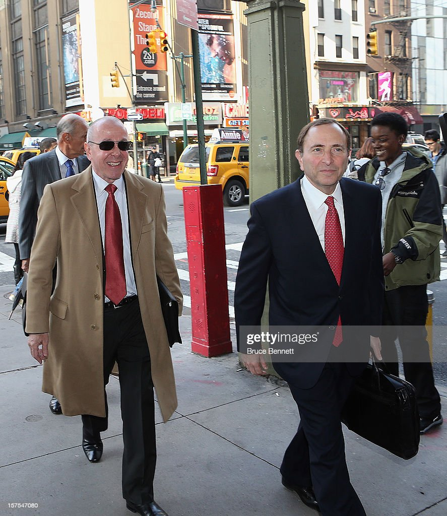 Maple Leaf Sports & Entertainment Chair Larry Tanenbaum and NHL Commissioner Gary Bettman arrive for a negotiation session with the NHL Players Association at the Westin Times Square Hotel on December 4, 2012 in New York City.