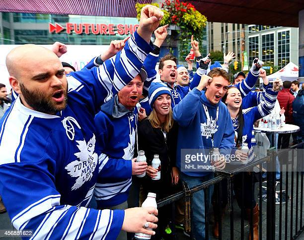 Maple Leafs Fans during Molson Canadian NHL FaceOff 2014 at YongeDundas Sq October 8 2014 in Toronto Ontario Canada