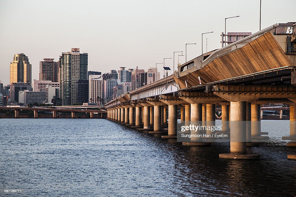 Mapo Bridge Over Han River In City Against Sky