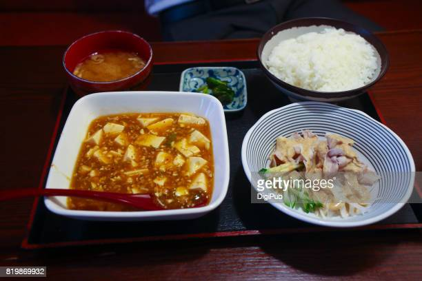Mapo doufu and rei-shabu lunch set served in a Japanese restaurant in Tokyo