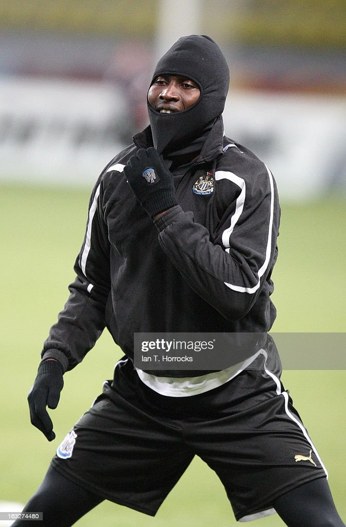 Mapou Yanga Mbiwa takes part in a Newcastle United training session ahead of the UEFA Europa League round of 16 first leg match against Anzhi Makhachkala at the Luzhniki Stadium in Moscow, Russia .