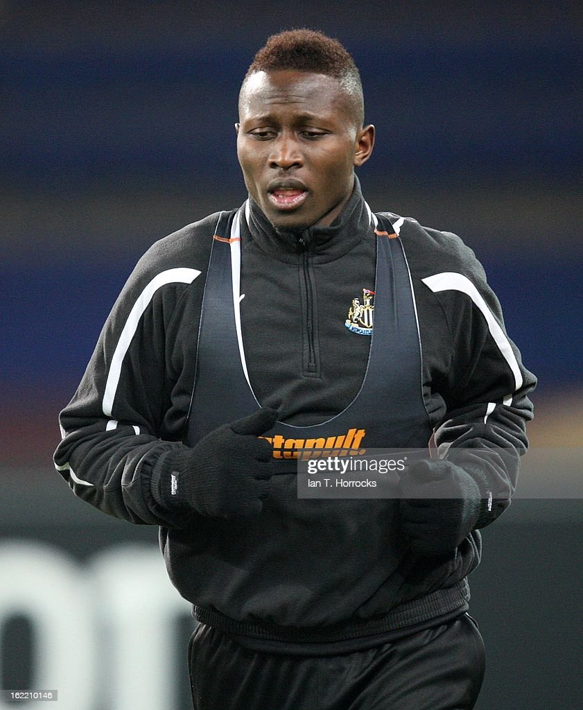 Mapou Yanga Mbwia of Newcastle United FC during a training session ahead of their UEFA Europa League round of 32 second leg match against FC Metalist Kharkiv, at Metalist Stadium, on February 20, 2013 in Kharkov, Ukraine.