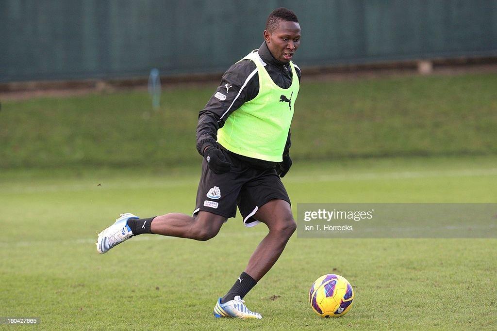 Mapou Yanga-Mbiwa during a Newcastle United training session at The Little Benton training ground on January 31, 2013 in Birmingham, England.