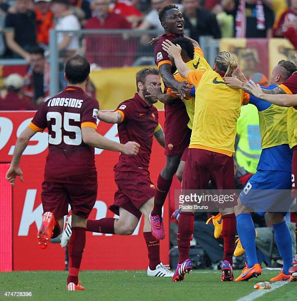 Mapou YangaMbiwa with his teammates of AS Roma celebrates after scoring the team's second goal during the Serie A match between SS Lazio and AS Roma...
