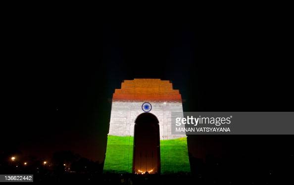 3D mapping projections display the Indian tricolor national flag on the India Gate as part of the Clean India campaign in New Delhi on January 9 2012...