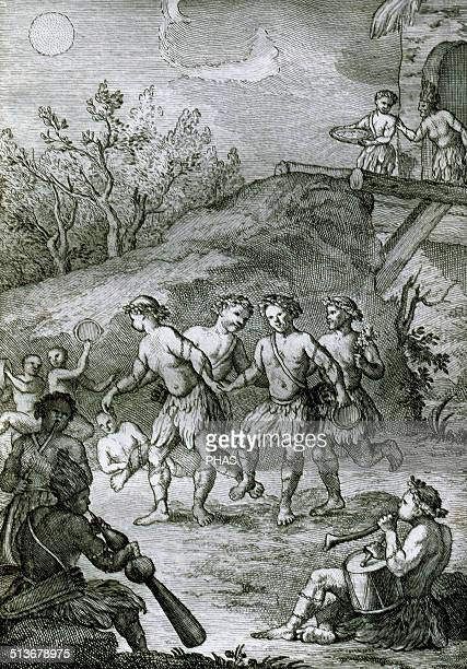 Mapuches Group of indigenous inhabitants of southcentral Chile and southwestern Argentina Bridal dance Engraving 18th century
