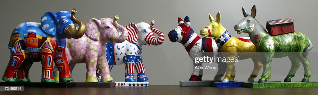 Maquettes of donkeys and elephants symbols of the Democratic and Republican Party from the Party Animals Project are displayed March 22 2002 in...