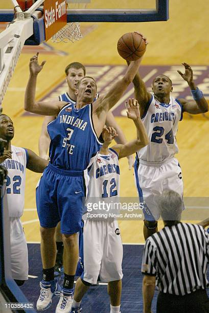 Mar 02 2007 St Louis MO USA Indiana State ADAM ARNOLD against Creighton BRICE NENGSU during the Missouri Valley Conference Tournament at ScottTrade...