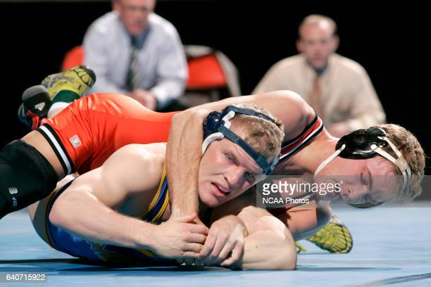 Jacob Naig of Wartburg wrestles Elliot Spence of the College of Mt St Joseph during the 2008 NCAA Division III Wrestling Championship at the US...