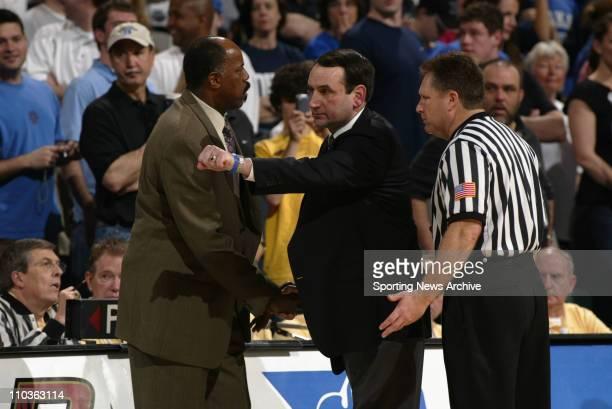 Mar 12 2006 Greensboro NC USA Duke University head coach Mike Krzyzewski and Boston College head coach Al Skinner during the final of the ACC Men's...