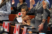 Mar 12 2009 Zoya Khan age 8 from Pakistan pledges oath of citizenship at the ceremony held in City Hall council chambers to become a Canadian...