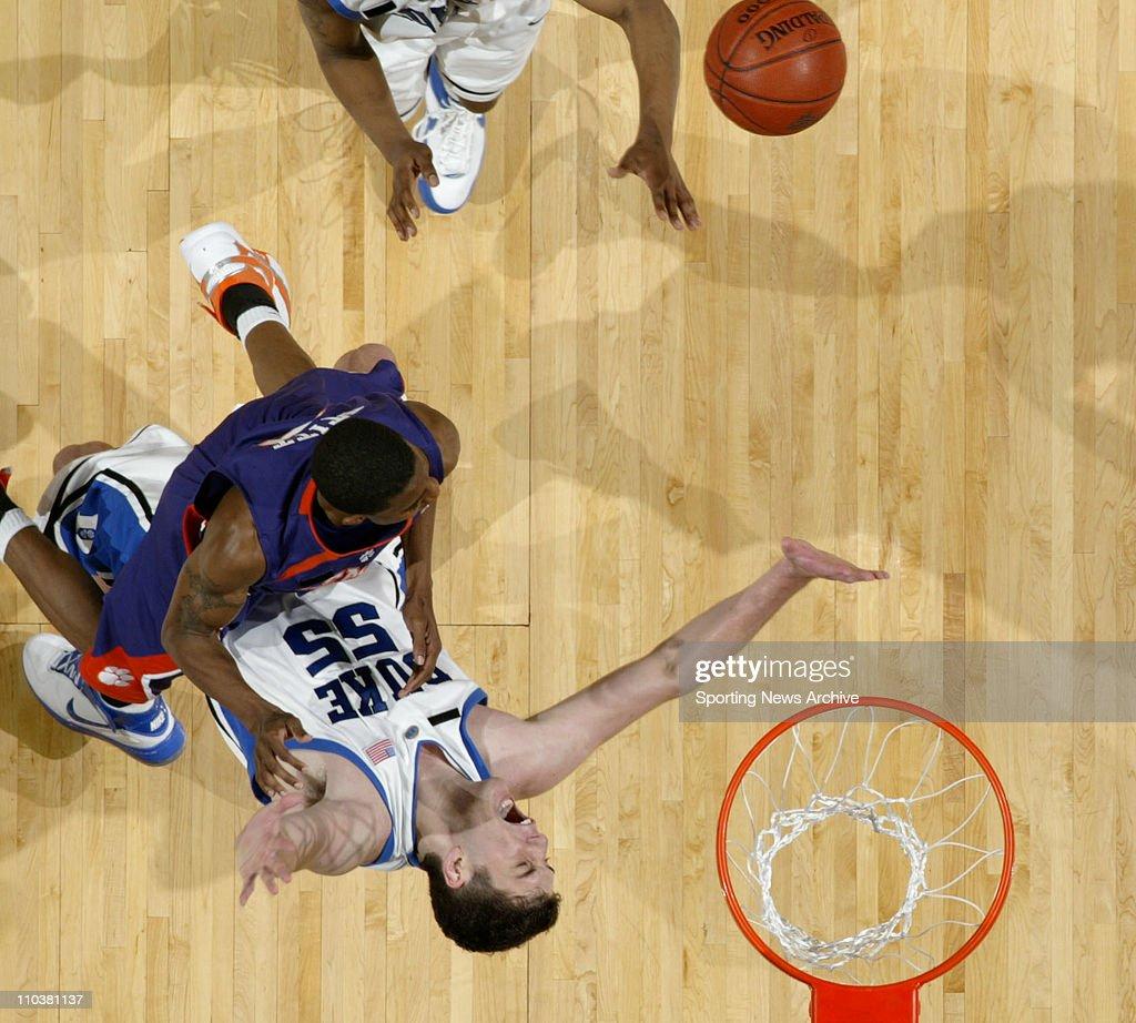 Mar 15, 2008 - Charlotte, North Carolina, USA - Duke BRIAN ZOUBEK against Clemson DEMONTEZ STITT during the Atlantic Coast Conference ACC basketball tournament championship. Clemson won 78-74.