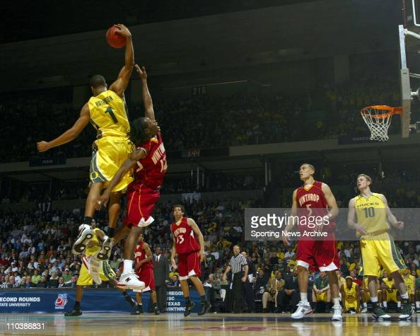Mar 16 2007 Spokane WA USA Oregon MALIK HAIRSTON against Winthrop TORRELL MARTIN during the second round of the NCAA Tournament in Spokane Wash on...