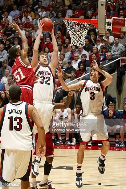 Mar 18 2006 Salt Lake City UT USA NCAA BASKETBALL Indiana Hoosiers Earl Calloway against the Gonzaga Bulldogs Sean Mallon and Adam Morrison during...