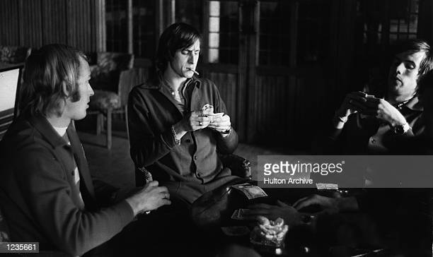 Johan Cruyff of Ajax and Holland relaxes with teamates prior to their European Cup tie with Arsenal Mandatory Credit Allsport Hulton/Archive