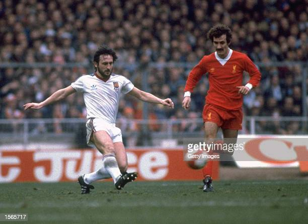 Frank Lampard of West Ham takes on Terry McDermott of Liverpool during the League Cup Final at Wembley Stadium in London Mandatory Credit Allsport UK...