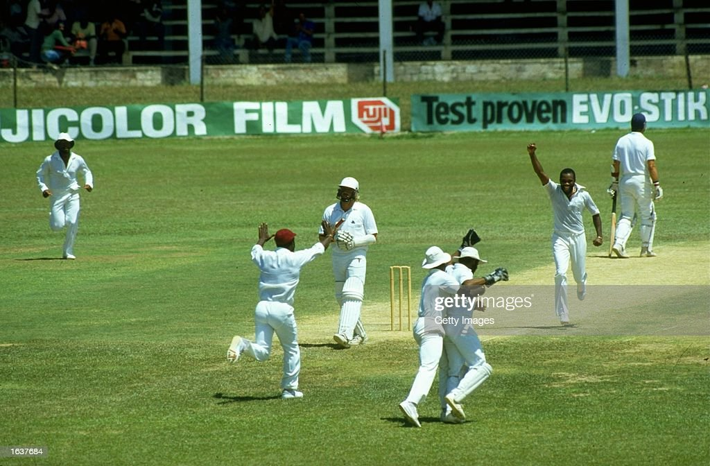 Ian Botham of England is caught behind off Malcolm Marshall of the West Indies during the Second Test match at Sabina Park in Kingston Jamaica The...