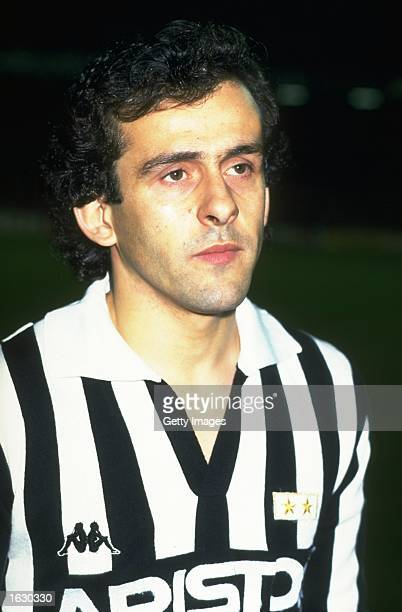 Portrait of Michel Platini of Juventus before the European Cup quarterfinal against Barcelona at the Camp Nou Stadium in Barcelona Spain Barcelona...