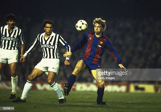 Steve Archibald of Barcelona takes on Gatetano Scirea of Juventus during the European Cup match in Barcelona Spain Barcelona won the match 10...