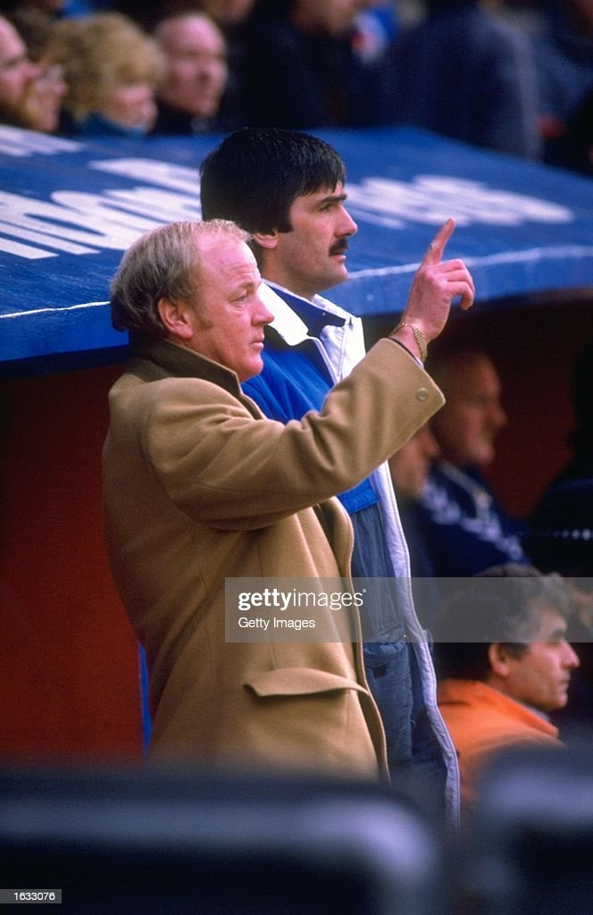 Billy Bremner of Leeds United signals to his team during a League Division Two match against Crystal Palace at Selhurst Park in London. Crystal Palace won the match 1-0. \ Mandatory Credit: Allsport UK /Allsport