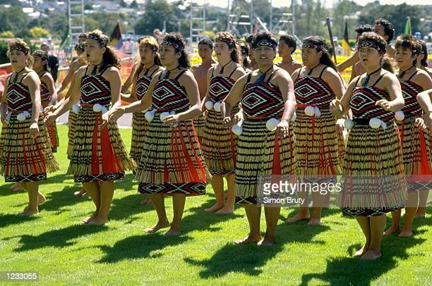 Maori women dance at the opening ceremony of the World Cross Country Championships in Auckland New Zealand Mandatory Credit Simon Bruty/Allsport