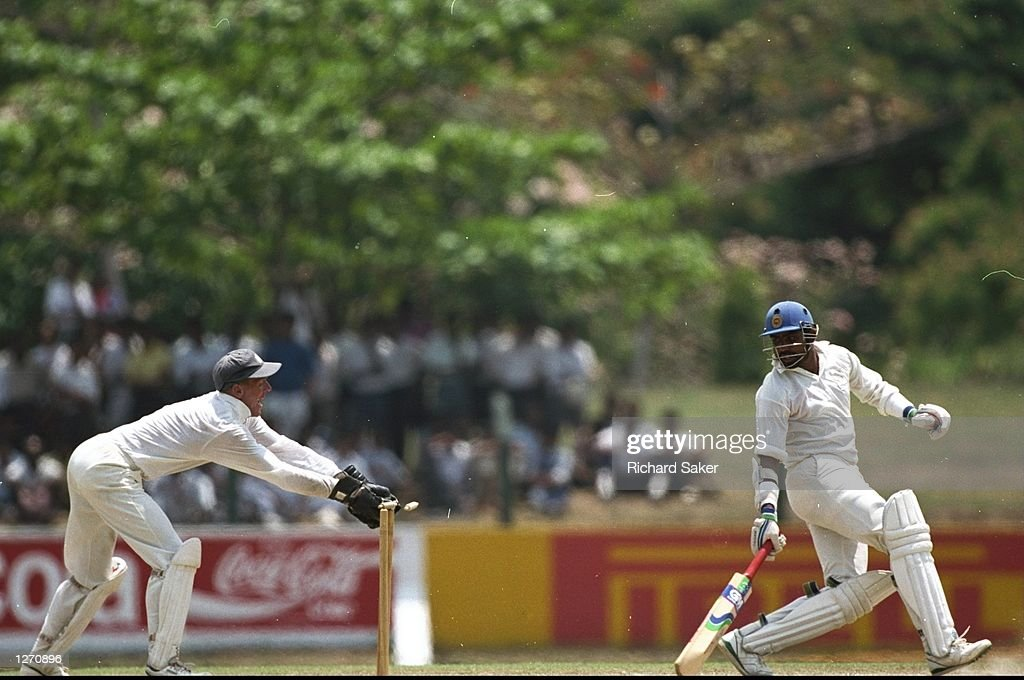 Alec Stewart of England stumps Asanka Gurusinha of Sri Lanka during the First Test match against the West Indies at Sabina Park in Kingston Jamaica...