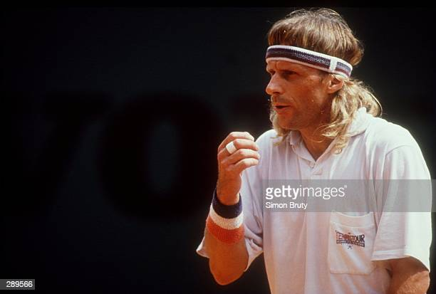 Bjorn Borg prepares to receive service during a comeback bid at Monte Carlo in 1991