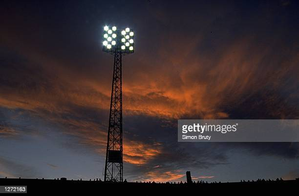 General view of the flood lights during a European Cup match between Marseille and AC Milan at the Stade Velodrome in Marseille France Marseille won...