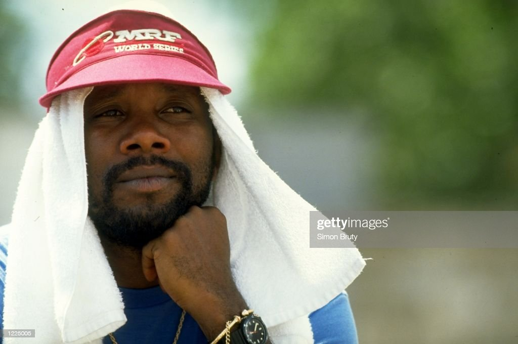 Portrait of Malcolm Marshall of the West Indies during the First Test match against Australia at Sabina Park in Kingston Jamaica The match ended in a...