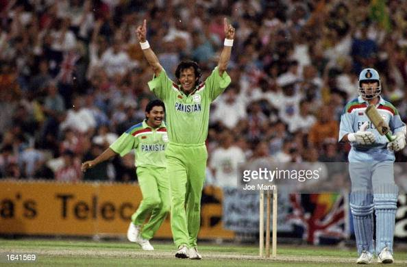 Imran Khan of Pakistan celebrates after taking the wicket of Richard Illingworth of England to win the World Cup Final at the Melbourne Cricket...
