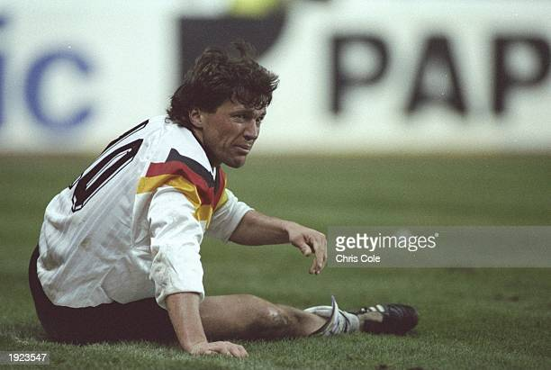 Lothar Matthaus of Germany gets up from the pitch during a match Mandatory Credit Chris Cole/Allsport