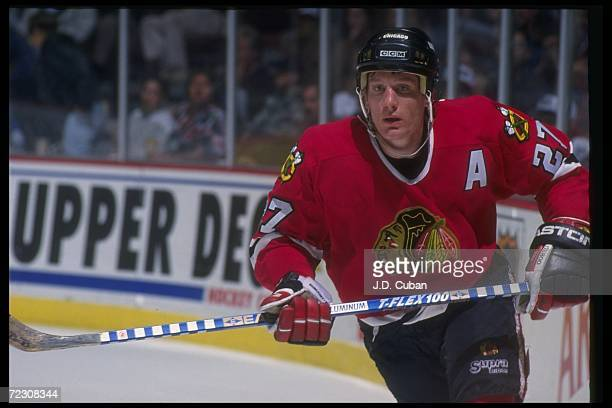 Center Jeremy Roenick of the Chicago Blackhawks moves down the ice during a game against the Anaheim Mighjty Ducks at Arrowhead Pond in Anaheim...