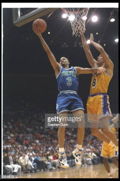 Chris Smith of the Minnesota Timberwolves goes up for two during a game against the Los Angeles Lakers at the Great Western Forum in Inglewood...