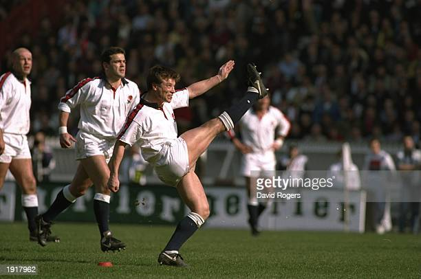 Rob Andrew of England kicks a penalty during the 1994 Five Nations Championship match between France and England at the Parc des Princes in Paris...