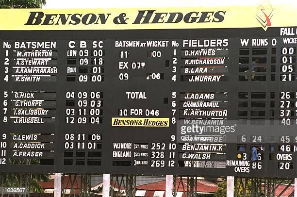 The scoreboard shows England are bowled out for 46 during the Third Test match against the West Indies at Queen's Park Oval in PortofSpain Trinidad...