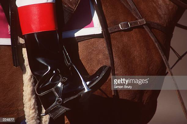A riders boot sits in the horses stirrup in this generic picture taken prior to racing at Gulfstream Park in Sarasota Florida Mandatory Credit Simon...