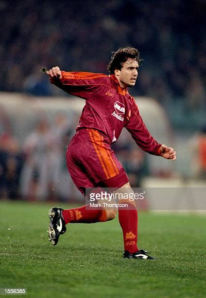 Abel Balbo of Roma in action during the UEFA Cup quarterfinal against Slavia Prague at the Olympic Stadium in Rome Mandatory Credit Mark...