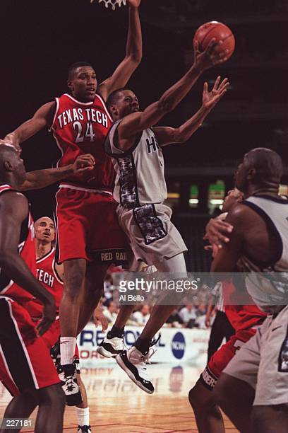 Allen Iverson of Georgetown goes up for the layup during the Hoyas 9890 win over Texas Tech during the NCAA East Regionals at the Georgia Dome in...
