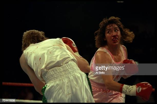 Christy Martin lands a blow on Deidre Gogarty during a bout in Las Vegas Nevada Martin won the fight with a decision in the sixth round Mandatory...
