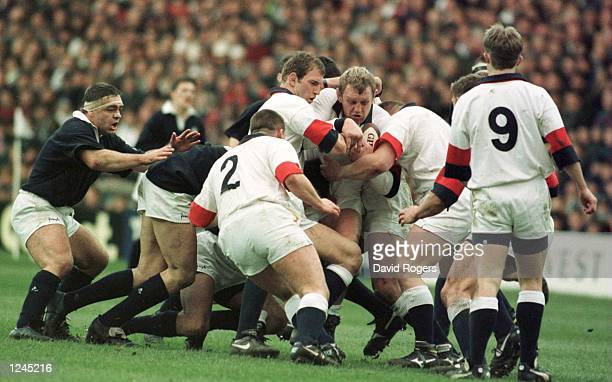 Dean Richards of England sets up a maul during Scotland v England in the Five Nation Championship at Murrayfield Mandatory Credit David...