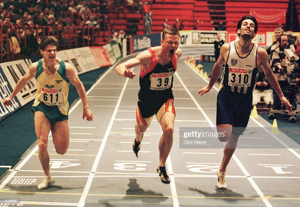 Erick Wijmeersch of Belgum wins the 200meter final from Alexios Alexopoulos of Greece during the European Indoor Athletics championships at the Globe...