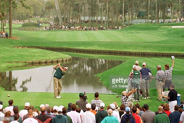 Fred Couples of the USA in action on the 16th hole during the final round of the 1996 Players Championship at the TPC at Sawgrass Stadium Course in...