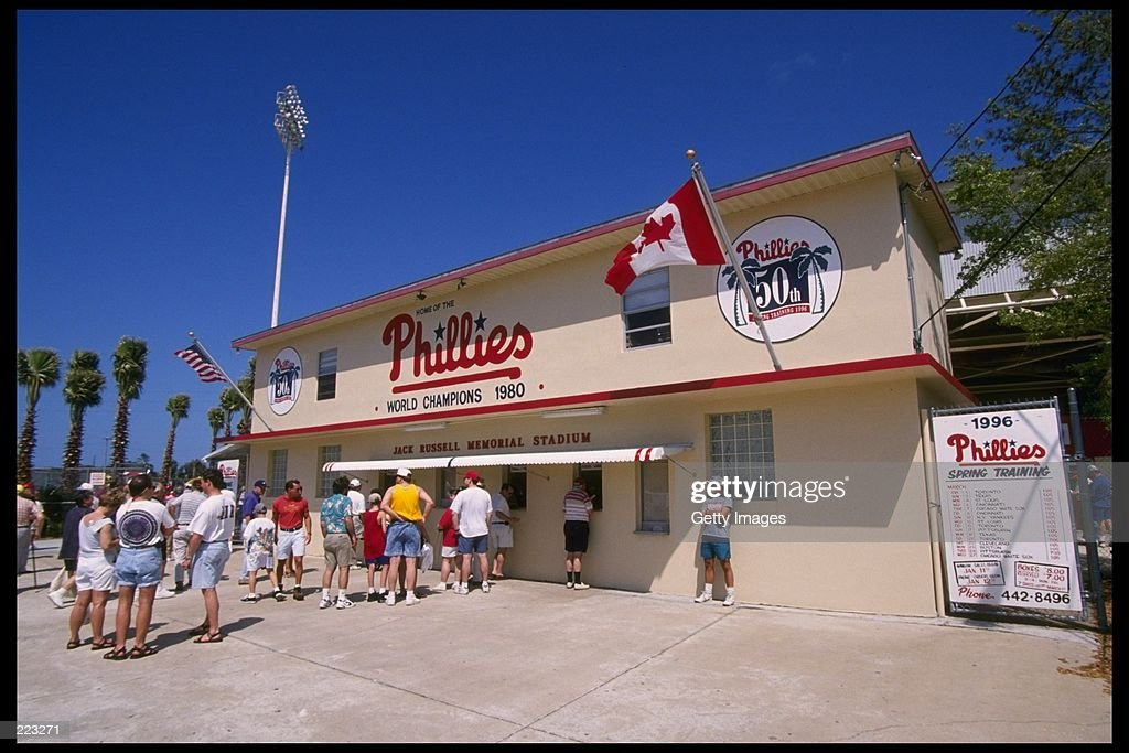 General view of a game between the Cincinnati Reds and the Philadelphia Phillies at Jack Russell Stadium in Florida Mandatory Credit ALLSPORT USA...
